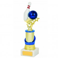 Tenpin Bowling Blue/Gold Trophy on White Base