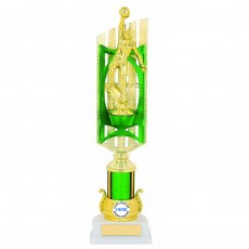 Basketball Green/Gold Trophy on White Base