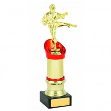 Karate Gold/Red Column on Black Base Trophy