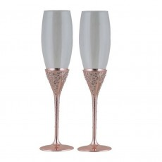 Champagne Flute set of 2 In Rose Gold Finish With Crystals