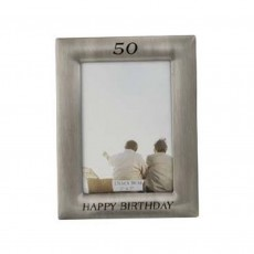 50th Birthday Frame Pewter Finish 5x7""