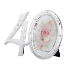 Number 40 Photo Frame with Diamontes