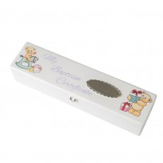 Baptism Certificate Box White with Bears