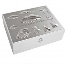 White with Silver Plate Keep Sake Box
