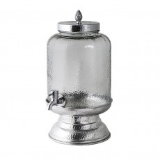 Aluminium Hammered/Beaten Metal Juice/Glass Jar Dispenser