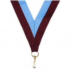 Maroon/Sky Blue Striped Neck Ribbon