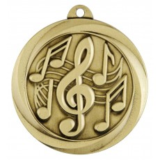 Music Medal Sculptured Gold