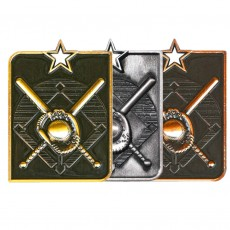 Baseball Rectangle Sculptured Medal