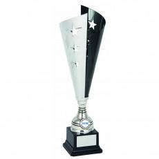 'Laser Scribe' Black/Silver Metal Cup on Base