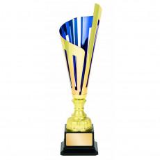 """""""Laser Scribe"""" Blue/Gold Metal Cup on Black Base"""