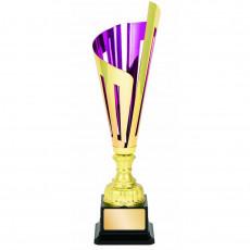 """Laser Scribe"" Purple/Gold Metal Cup on Black Base"