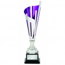 """Laser Scribe"" Purple/Silver Metal Cup on Black Base"