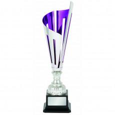"""Laser Scribe"" Purple/Silver Metal Cup on Black Base"