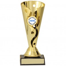 Gold 'Carnival' Plastic Presentation Cup on Base