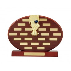 Self Standing Oval Timber Perpetual Trophy
